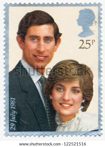 UNITED KINGDOM - CIRCA 1981: A stamp printed in United Kingdom shows portraits of Prince Charles and Lady Diana, circa 1981
