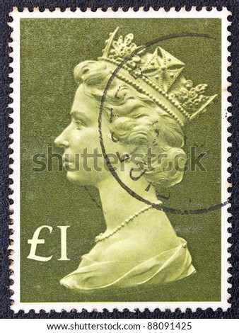 UNITED KINGDOM - CIRCA 1977: A stamp printed in United Kingdom shows Queen Elizabeth II, circa 1977.