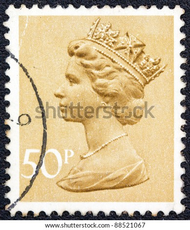 UNITED KINGDOM - CIRCA 1977: A stamp printed in United Kingdom shows Queen Elizabeth II, circa 1977.