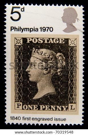 UNITED KINGDOM - CIRCA 1970: An English  Postage Stamp showing world's first prepaid stamp, the Penny Black, Great Britain 1840 , circa 1970