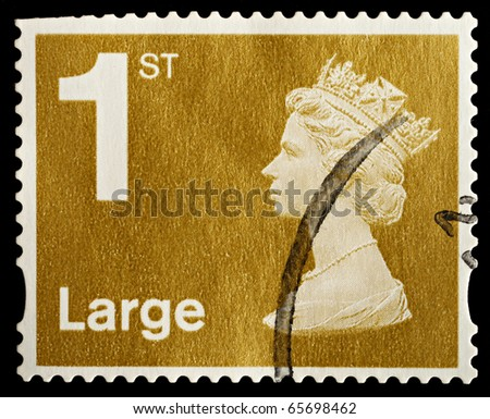 UNITED KINGDOM - CIRCA 2006: An English Used First Class Large Letter Postage Stamp showing Portrait of Queen Elizabeth 2nd, circa 2006