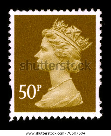 UNITED KINGDOM - CIRCA 1990: An English Used First Class Postage Stamp printed in UNITED KINGDOM showing Portrait of Queen Elizabeth in gold, circa 1990.