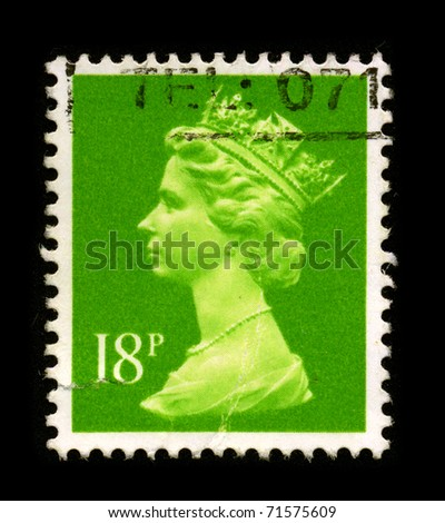 UNITED KINGDOM - CIRCA 1980: An English Used First Class Postage Stamp printed in United Kingdom showing Portrait of Queen Elizabeth in green, circa 1980.
