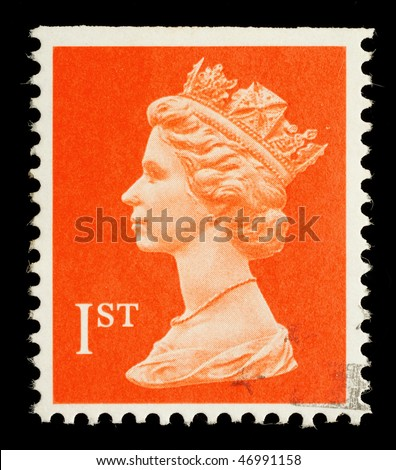 UNITED KINGDOM - CIRCA 1998: An English Used First Class Postage Stamp showing Portrait of Queen Elizabeth 2nd, circa 1998 - stock photo