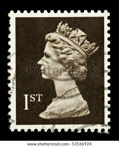 UNITED KINGDOM - CIRCA 1989: An English Used First Class Postage Stamp showing Portrait of Queen Elizabeth 2nd, circa 1989
