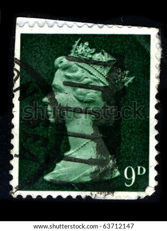 UNITED KINGDOM - CIRCA 1990: An English Used First Class Postage Stamp showing Portrait of Queen Elizabeth in green circa 1990.
