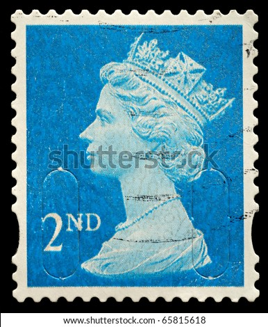 UNITED KINGDOM - CIRCA 2010: An English Used Second Class Postage Stamp showing Portrait of Queen Elizabeth 2nd, circa 2010