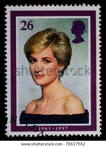 UNITED KINGDOM - CIRCA 1998: British Used Postage Stamp showing Diana, Princess of Wales, circa 1998