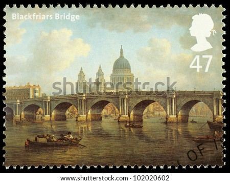 UNITED KINGDOM - CIRCA 2002 : English Used Postage Stamp showing Blackfriars Bridge as it looked in circa 1800 London, with Saint Pauls Cathedral, printed in England,  Great Britain, circa 2002