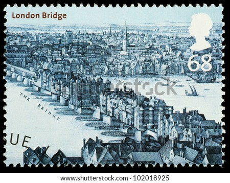 UNITED KINGDOM - CIRCA 2002 : English Used Postage Stamp showing London Bridge as it looked in circa 1670 London, printed in England, Great Britain, circa 2002
