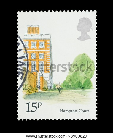 UNITED KINGDOM - CIRCA 1980: Mail stamp printed in the UK featuring the landmark architecture of Hampton Court Palace, circa 1980