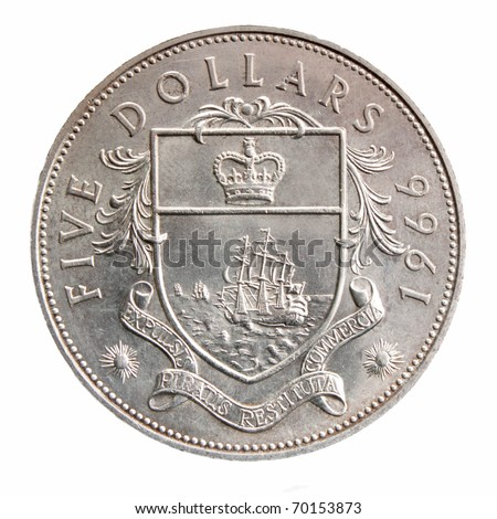 UNITED KINGDOM - CIRCA 1966:  sides of a 1966 five dollarscoin from the United Kingdom, circa 1966.