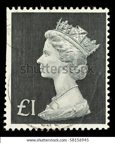 UNITED KINGDOM - CIRCA 1970 to 1972: An English One Pound Used Postage Stamp showing Portrait of Queen Elizabeth 2nd, circa 1970 to 1972