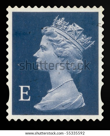 UNITED KINGDOM - CIRCA 2000 to 2003: An English Used First Class Postage Stamp showing Portrait of Queen Elizabeth 2nd, circa 2000 to 2003