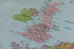 United kIngdom closeup map.