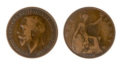 United Kingdom Coin of One Penny of George V, 1918. On the obverse it has the bust of the king to the right and on the reverse, the delayed image of Britain.
