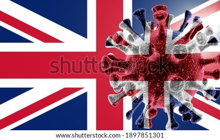 United Kingdom England flag with coronavirus. Virus background with 3D created viruses. Covid-19 lung disease outbreak in the UK.