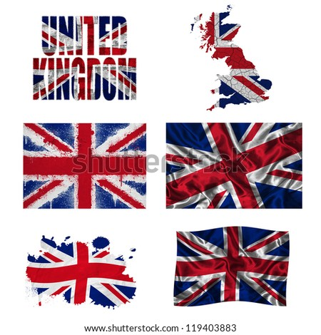 United Kingdom flag and map in different styles in different textures