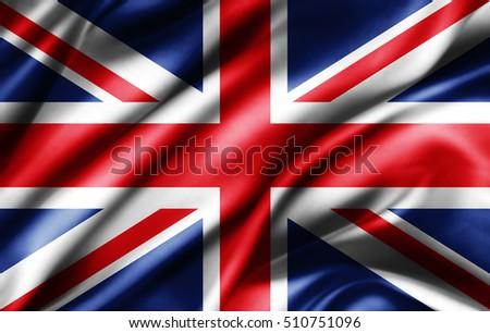United Kingdom flag of silk -3D illustration