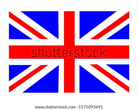 United Kingdom flag on a white background, United Kingdom flag.