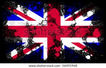 United Kingdom flag paint splatter