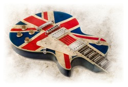 united kingdom flag painted guitar, vintage style image