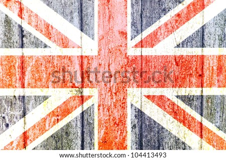 United Kingdom Flag painted on aged worn wooden wall