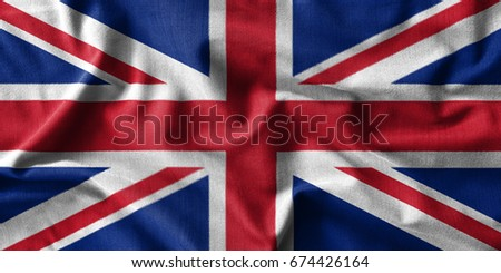 United Kingdom flag painting on high detail of wave cotton fabrics . 3D illustration . #674426164