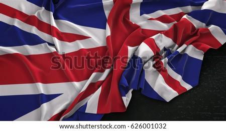 United Kingdom Flag Wrinkled On Dark Background 3D Render