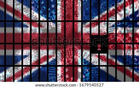United Kingdom lockdown preventing coronavirus spread or outbreak. Covid 19 UK precaution to lock down virus infection - 3d Illustration Stock fotó ©