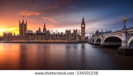 United Kingdom London Cityscape at Sunset