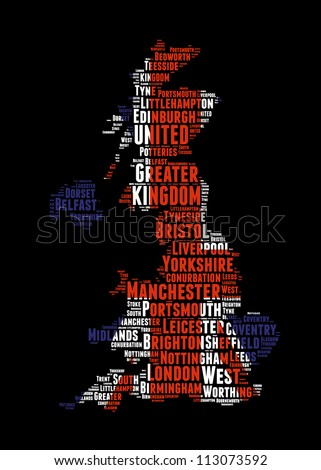 United Kingdom map and words cloud with larger cities