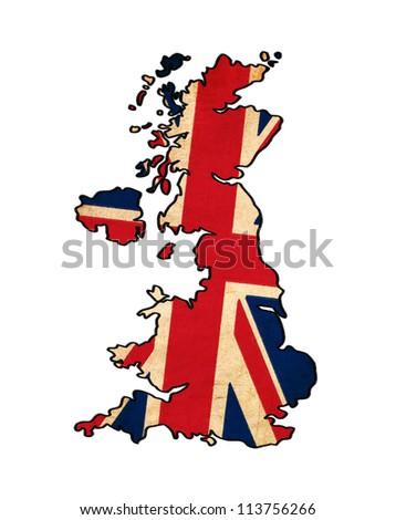 United Kingdom map on United Kingdom flag drawing ,grunge and retro flag series