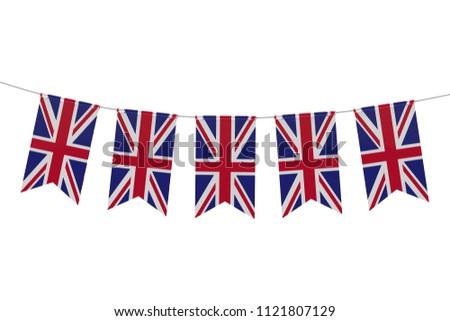 United Kingdom national flag festive bunting against a plain white background. 3D Rendering #1121807129