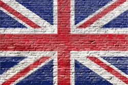 United kingdom - National flag on Brick wall