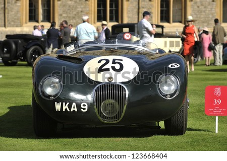 UNITED KINGDOM - SEPTEMBER 13: A classic Jaguar on display at the United Kingdom Concours d'elegance Classic Car Expo at Windsor Castle on September 13, 2012 in Windsor, United Kingdom.