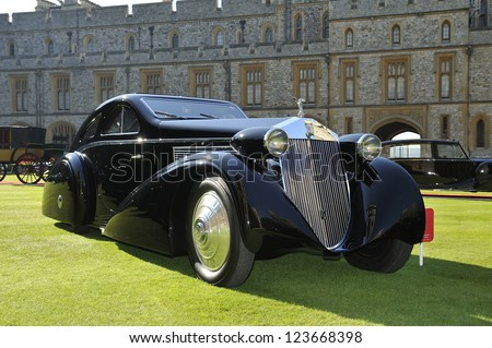 UNITED KINGDOM - SEPTEMBER 13: A unique Rolls Royce on display at the United Kingdom Concours d'elegance Classic Car Expo at Windsor Castle on September 13, 2012 in Windsor, United Kingdom.