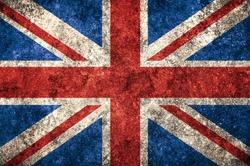 United Kingdom UK flag on the grunge concrete wall