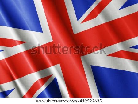 United Kingdom waving flag close #419522635