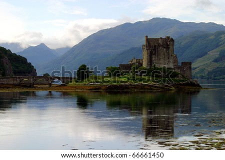 United Kingdom, Western Scotland Kyle of Lochalsh  Eilean Donan Castle reflected on loch