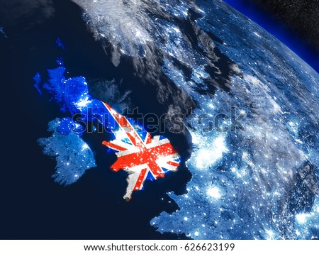 United Kingdom with embedded national flag at night from space. 3D illustration with detailed planet surface and visible city lights. Elements of this image furnished by NASA.