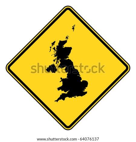 United Kingdom Yellow Diamond Shaped Road Sign Isolated On ...