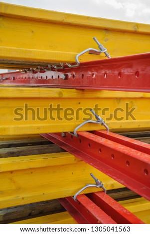 United metal beams and wooden beams #1305041563