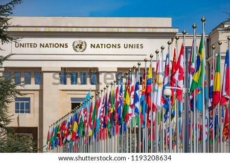 United Nations Building and the flags in Geneva Switzerland