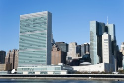 United Nations Building seen from Roosevelt Four Freedom park on Roosevelt Island, New York City