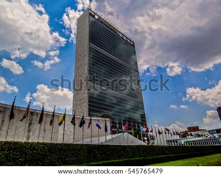 United Nations Headquarters Building in New York City, USA #545765479
