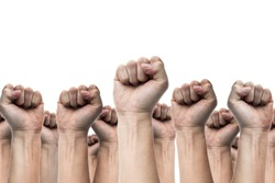 united people, labor movement, worker strike, election movement, protest illegal election concepts with males fist raised air fighting for their rights, isolated on white backgrounds