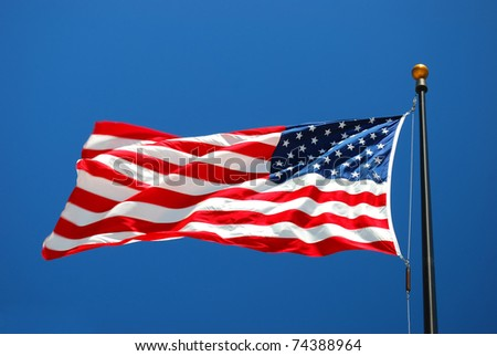 United State flag in the sun