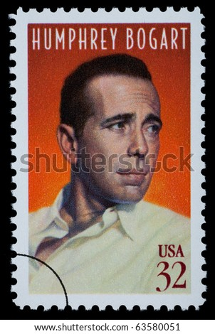 UNITED STATES AMERICA - CIRCA 2000: A postage stamp printed in the USA showing Humphrey Bogart, circa 2000