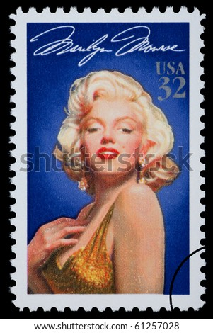 UNITED STATES AMERICA - CIRCA 2003: A postage stamp printed in the USA showing Marilyn Monroe, circa 2003
